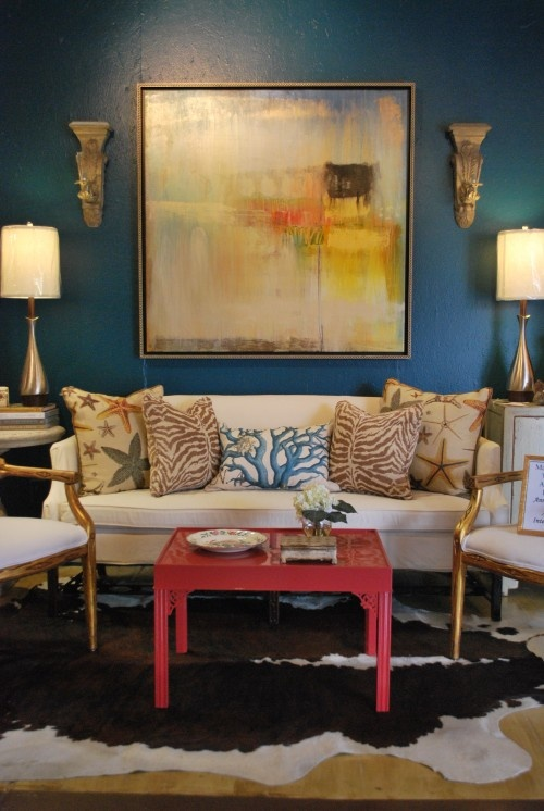 Alluring Turquoise Room Colors Decorating Ideas In Living Room Eclectic  Design Ideas With Alluring Accessories Animal Hide Rug Benjamin Moore  Galapagos ...