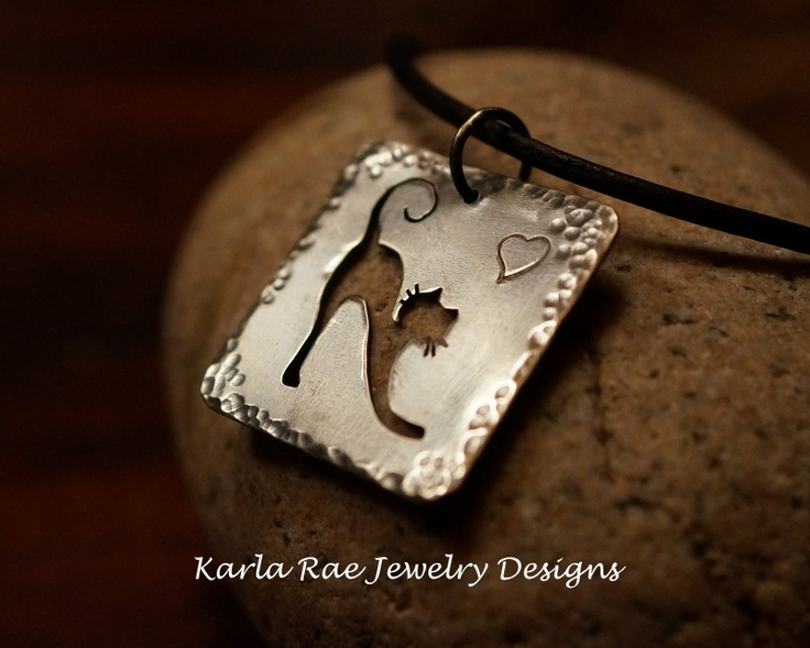Sterling silver cat pendant, handsawn  Karla Rae Jewelry Designs