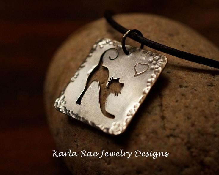 Sterling silver cat pendant, handsawn  Karla Rae Jewelry Designs