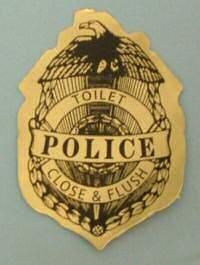 Toilet police sticker