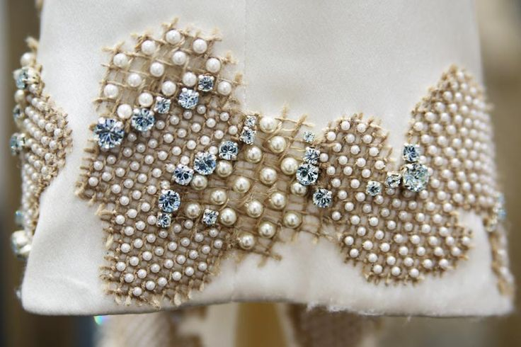 Pearl embellished embroidery with textural stitching; sewing; textiles; haute couture fashion design detail // Chanel