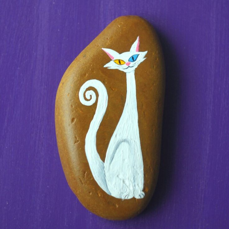 #stone #design #painting #cat #white