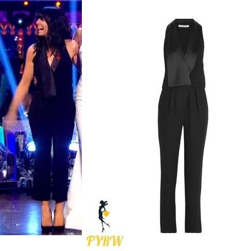 Claudia Winkleman strictly jumpsuit black satin lapel jumpsuit Strictly Come Dancing November 2017