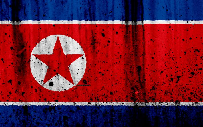 Download wallpapers North Korea flag, DPRK flag, 4k, grunge, flag of North Korea, Asia, North Korea, national symbols, DPRK, North Korea national flag