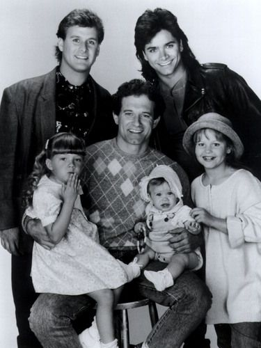 When I pulled out the photo above, I was surprised that Bob Saget was nowhere in the picture. Apparently Saget, though the first choice of the Full House producers, was committed to another show and unavailable when the Full House pilot was shot – so they used John Posey instead. But Saget's other show didn't work out, he took the Full House role as widower Danny Tanner, and all was right with the world. And John Posey was never heard from again.