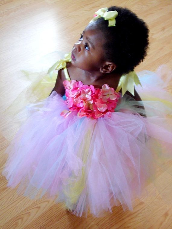 Flower Girl Tutu Dress Ivory and Turqouise tutu by AngelicallyKute