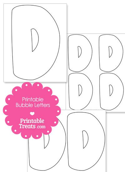 Printable Bubble Letter D Template From PrintableTreats