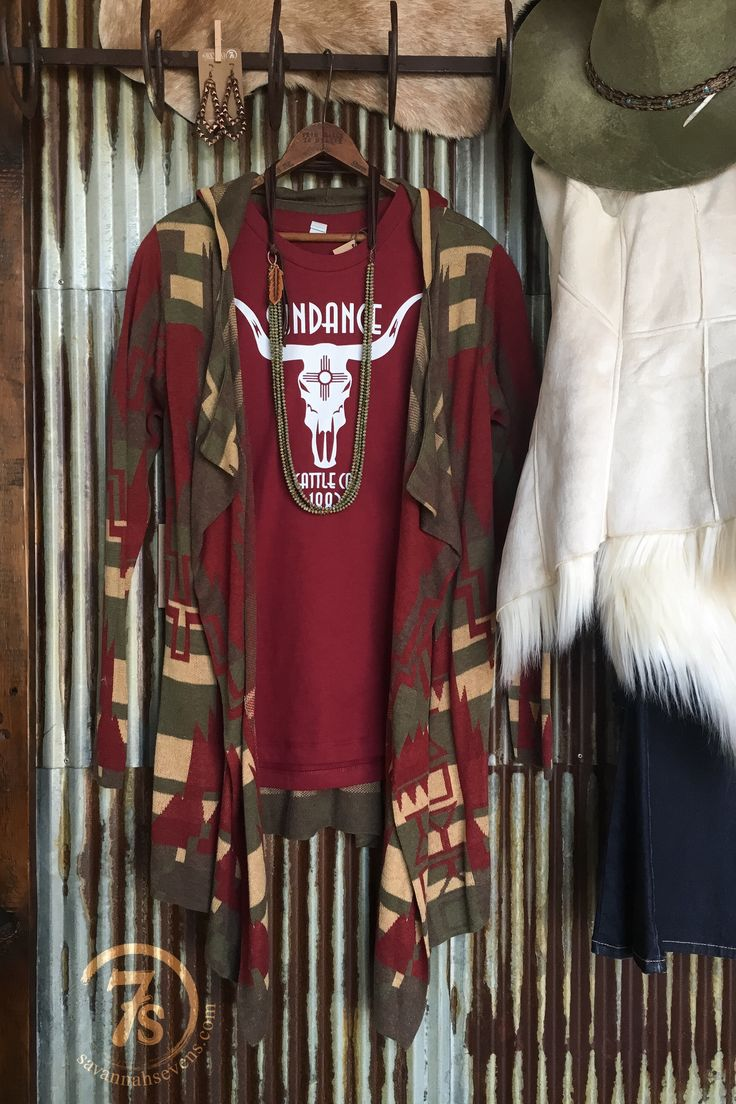 The McCook- Beautiful southwest light weight knit sweater cardi. Cranberry, olive, taupe and tan earth tone southwest print.