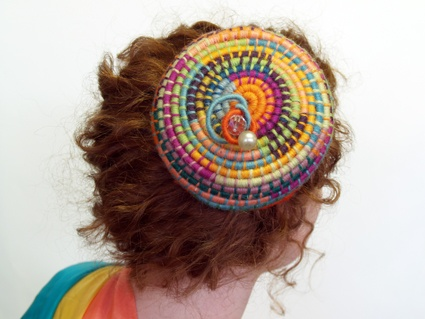 Colourful coiled headpiece from 'practical basketry techniques' by Stella Harding and Shane Waltener