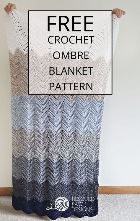 Ombre Ripple Crochet Blanket Pattern www.rescuedpawdesigns.com Click to Read or Pin and Save for Later! via @rescuedpaw