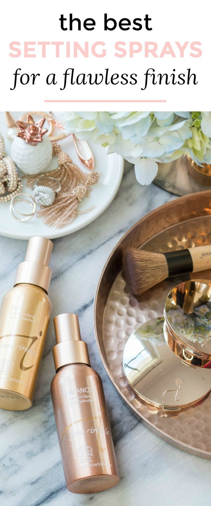 Learn how to make your skin look flawless with this easy full coverage foundation routine for all skin types with the best setting sprays for creating a flawless finish - jane iredale's PurePressed Base®️️ Mineral Foundation and POMMISST™️ Hydration Spray. Click to see the makeup tutorial by Orlando beauty blogger Ashley Brooke Nicholas. #TheSkincareMakeup #BeautyWithBrilliance sponsored by jane iredale | easy makeup tutorial, foundation routine, foundation tutorial, best makeup, bes