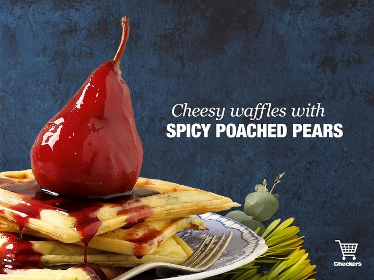 Cheesy waffles and spicy poached pear
