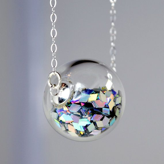 Prism glitter hand blown glass ball silver necklace by thestudio8