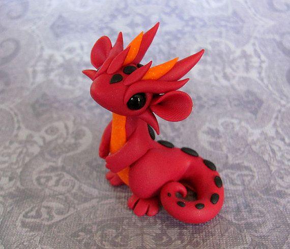Firey Red Scrap Dragon by DragonsAndBeasties on Etsy