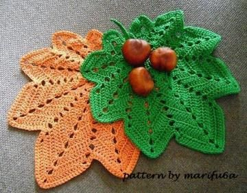 crochet hot pad,doily autumn leaf pattern tutorial for beginner