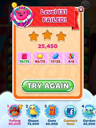 Candy Blast Mania Level Failed: screenshots, UI