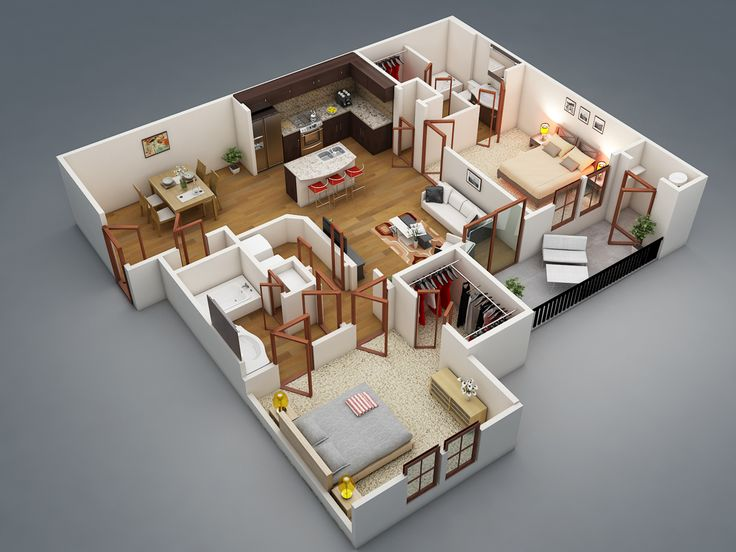 Apartments : Excellent House Interior Design Plans Ideas With Two Bedrooms  Bath Attached House Plan Picture   A Part Of Surprising Bedroom Apartment/House  ...