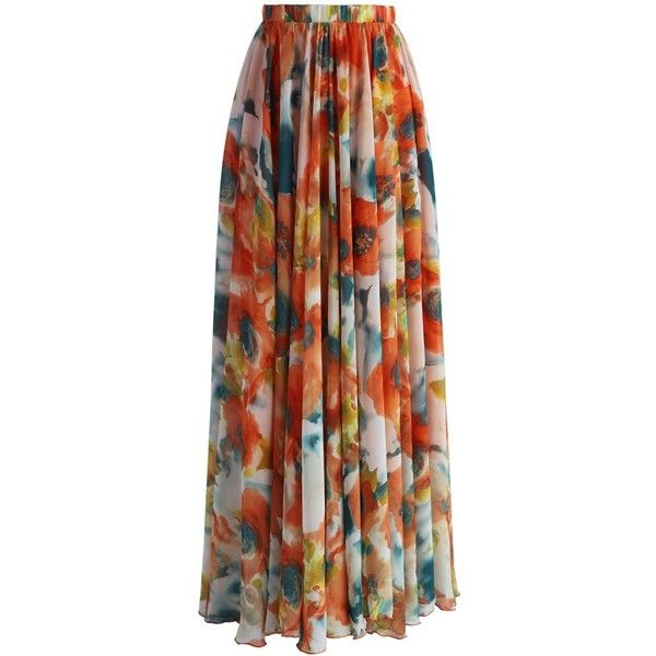 Chicwish Orange Blossom Watercolor Maxi Skirt (78 CAD) ❤ liked on Polyvore featuring skirts, gonne, long skirts, maxi skirts, orange, floral skirt, long brown skirt, ruffle skirt and ruffle maxi skirt