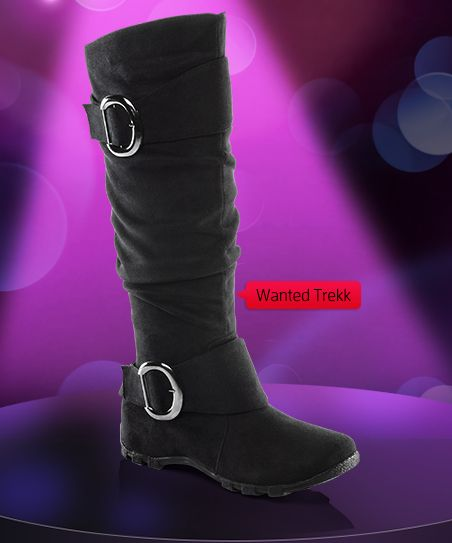 s wanted slouch buckle flat boots at shoe carnival