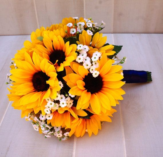 Sunflower and Baby's Breath Bridal Bouquet - BouKeeps - $55