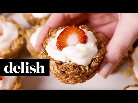 How to Make Granola Cupcakes Video - Healthy Breakfast Ideas - Delish.com