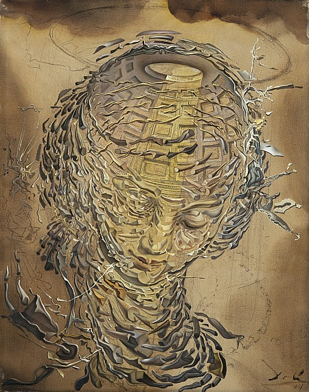 """Salvador Dali - Exploding Raphaelesque Head (1951) """"Following the atomic explosion over Hiroshima in 1945, Dalí painted a number of fragmented heads and figures...The upper area of the painting, with the halo and brown clouds resembles photographs of atomic explosions. The female face, with its tender expression and thin halo, is recognisable as the face of a Madonna by Raphael... The skull section in this work is based upon the inside of the dome of the Pantheon building in Rome."""""""