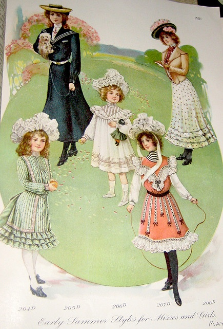 Young Women And Girls Fashion Delineator 1902 Vintage