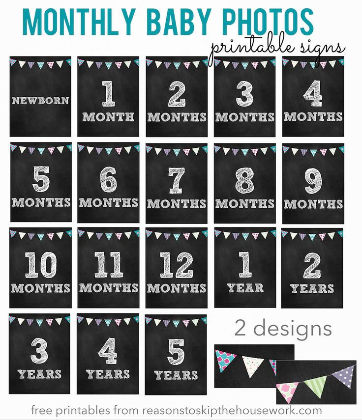 There are so many creative ways to capture monthly baby photos and you're going to need age signs to make those memories. Free printable monthly baby signs