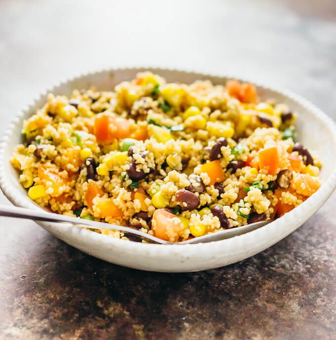 This is the easiest and best couscous salad I've ever had. It's simple to make, vegan, and has a summery southwestern vibe with beans and corn!