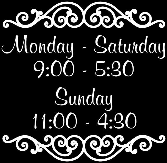 Custom Store Business Hours Decal 15 x 15 Store Hours by glassden, $15.00
