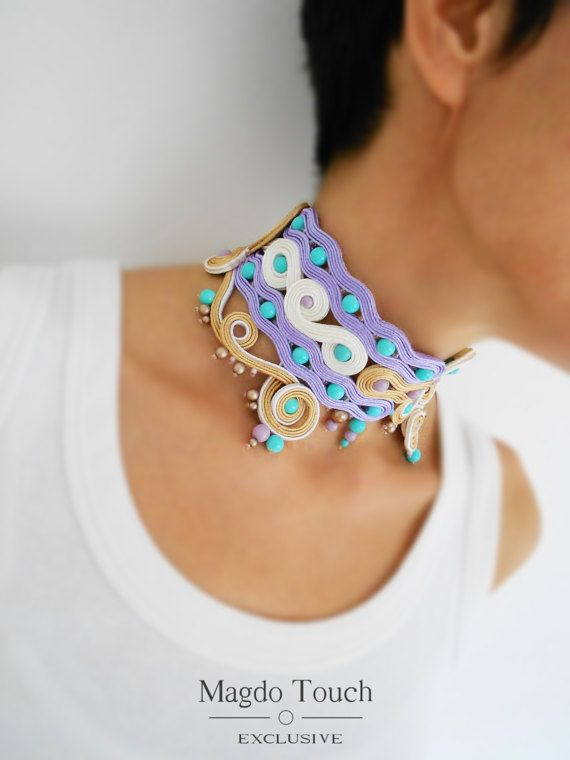 OOAK soutache necklace oversized choker necklace by MagdoTouch