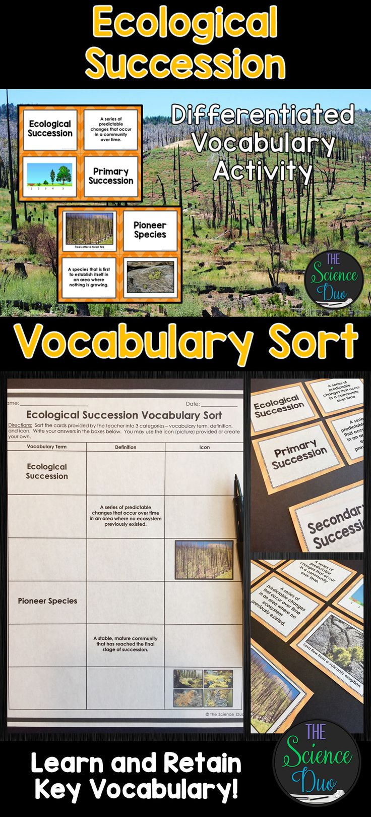 Help Your Students Grasp And Retain Key Ecological Succession Vocabulary This Resource Includes Ecological Succession Biology Teacher Environmental Education