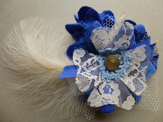 Glam Garb Fabric Flower Brooch Pin Royal Blue Lapis Velveteen Handmade USA Romantic Victorian Steampunk Vintage Up-cycled OOAK www.glamgarb.com www.etsy.com/shop/glamgarb