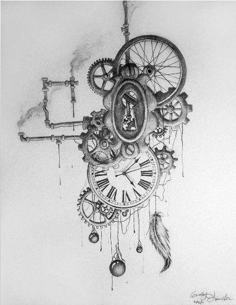 Dessin, tatouage, steampunk, montre, engrenages, attrape-rêves, plume, tuyaux, encre noire