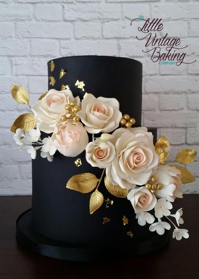 Black Blush and Gold Floral Wedding Cake by Ashley Barbey - http://cakesdecor.com/cakes/252085-black-blush-and-gold-floral-wedding-cake
