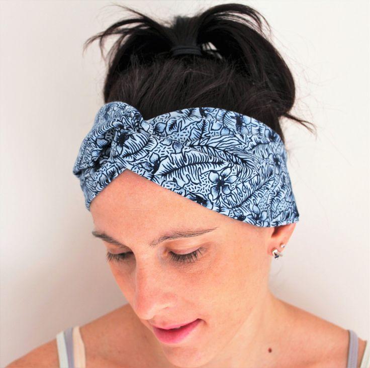 Headband bleu, turban ethnique, accessoire cheveux femme, tissu pagne africain, bandeau bleu africain, bandeau élastique, style africain eth de la boutique Underthecocotiers sur Etsy