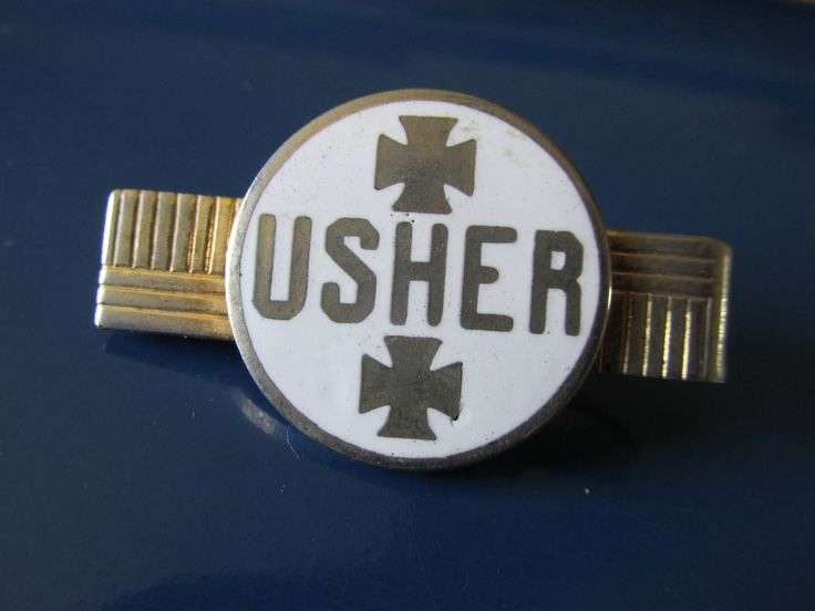 """Vintage USHER TIE BAR Gold Tone & Enamel 1940/50's Men's Accessories Measures 1.75"""" x 1"""" Church/Cinema Usher Unmarked All Occasion Gift by GrammiesCupboard on Etsy"""