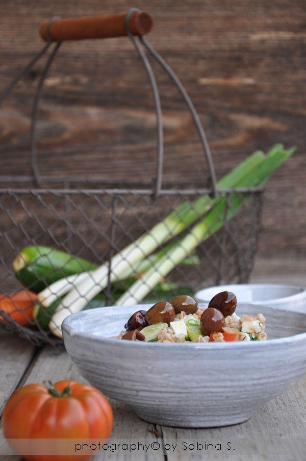 Due bionde in cucina: Insalata greca con farro e olio extravergine d'oli...