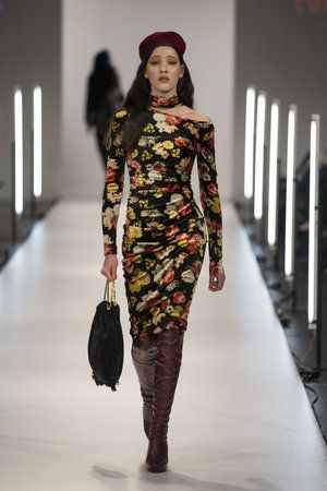 Eugenie stretch dress with asymmetrical neckline, accessorised with red boots, beret and bag at #nzfw2016. Eugenie_NG_0297.jpg