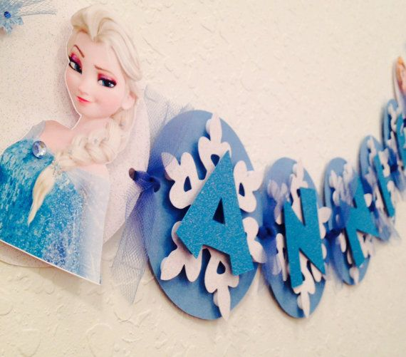 frozen banner frozen name banner by karlaspartycreations on Etsy