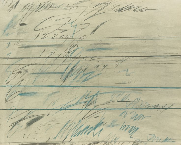 Cy Twombly 1928-2011 UNTITLED (BASTIAN 37) Offset lithograph printed in colors, 1971, initialed in pencil on the verso, dated and numbered 94/100, on wove paper, published by Galerie Yvon Lambert, Paris, framed sheet 697 by 870 mm 27 1/2 by 34 1/4 in