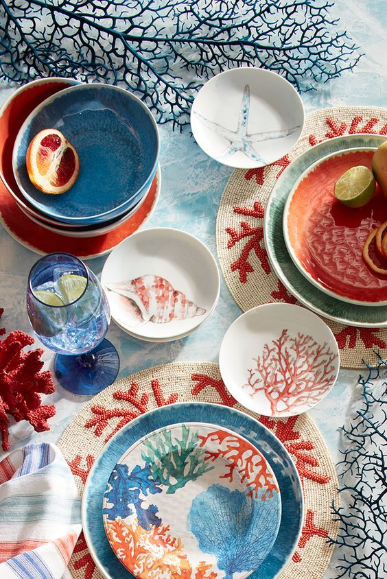 fun coral and seashell dinner ware.  So pretty to decorate your home when you are away from Inn at the Beach in Venice, Florida