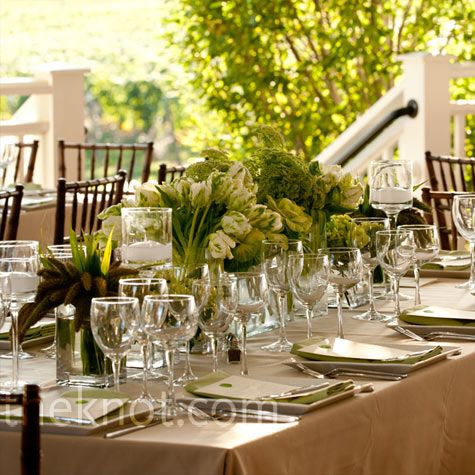 This is how I picture my wedding--- light green and champagne-colored linens. Just super pretty and clean :)