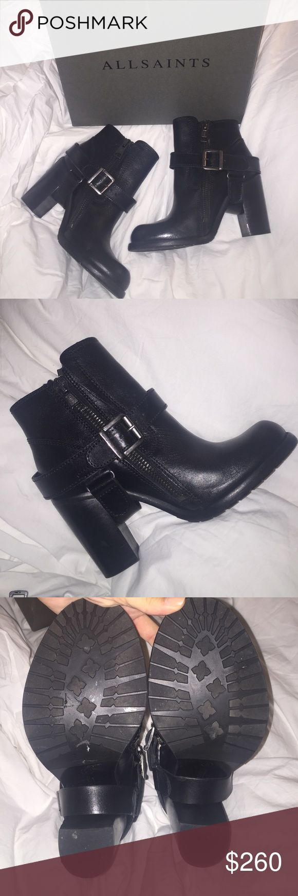 """ALL SAINTS Jules heeled boot BRAND NEW, never worn, ALL SAINTS leather heeled boots. I bought the display shoes since it was the last pair, so any marks on bottom was from being tried on. Originally $408, I bought the wrong size and don't have receipt to return them. About a 3.5"""" heel. Open to reasonable offers, super trendy boot which goes great with any type of outfit!💕 All Saints Shoes Ankle Boots & Booties"""