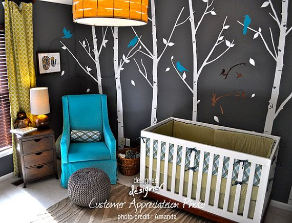 birds in the urban forest owl wall decal by designed designer on etsy.: Boys Nurseries, Baby Boys Rooms, Decals, Trees, Colors Schemes, Baby Rooms, Nurseries Ideas, Dark Wall, Kids Rooms