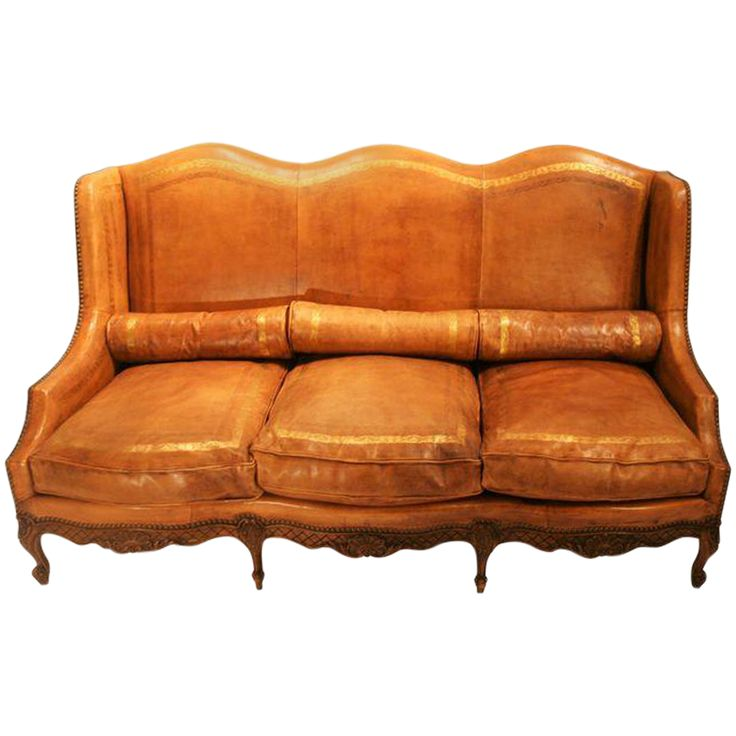 Louis XV Style Embossed Leather Camelback Sofa