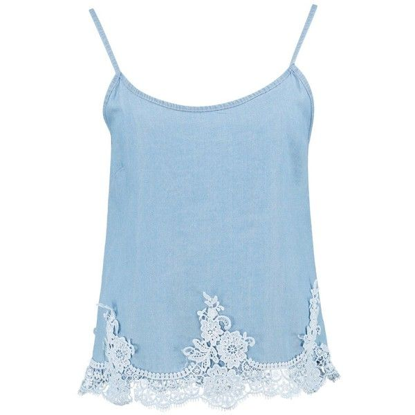 Boohoo Samantha Crochet Trim Denim Cami Top | Boohoo (280 UYU) ❤ liked on Polyvore featuring tops, denim tank, crochet trim tank, blue cami, blue tank top and blue camisole