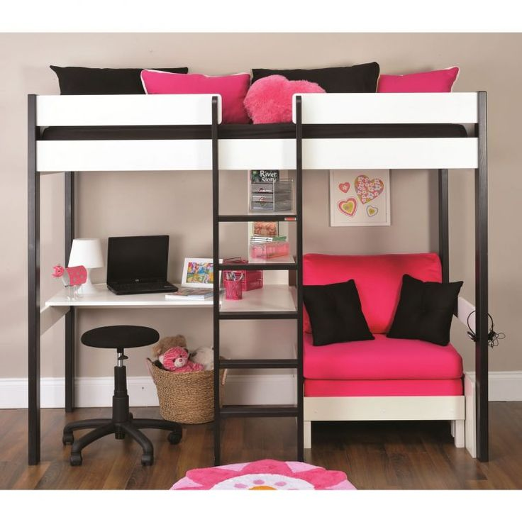 Black And White Girls Bunk Bed With Pink Futon Sofa Bed As Well As Bed With Desk And Futon  Also Space Saving Desk Bed