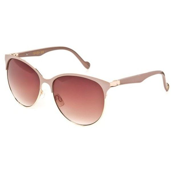 Jessica Simpson Gold Nude Retro Oval Metal Sunglasses - Women's