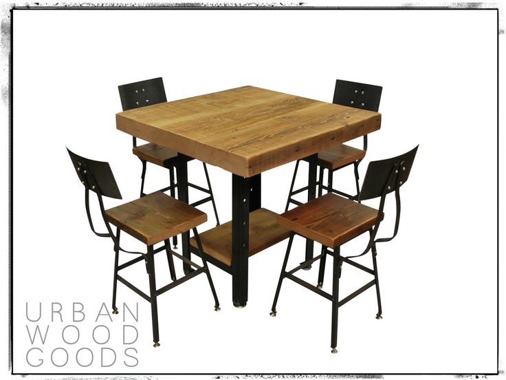 Square Wood Dining Table With Industrial Modern Metal Leg